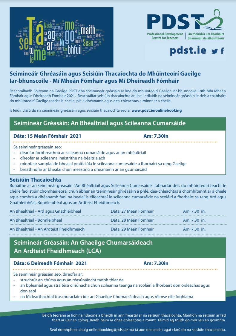 PDST Post Primary Gaeilge Flyer Sept-Oct 2021
